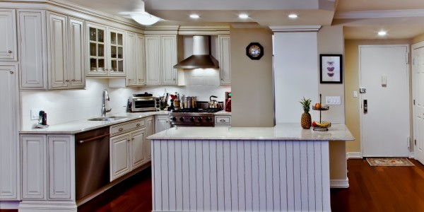 Alternate view of kitchen and entry – NYC Condo Reno
